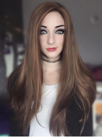 Brown bra strap length Straight Synthetic Lace Wig-SNY069
