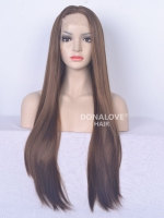 Brown bra strap length Curly Synthetic Lace Wig-SNY069
