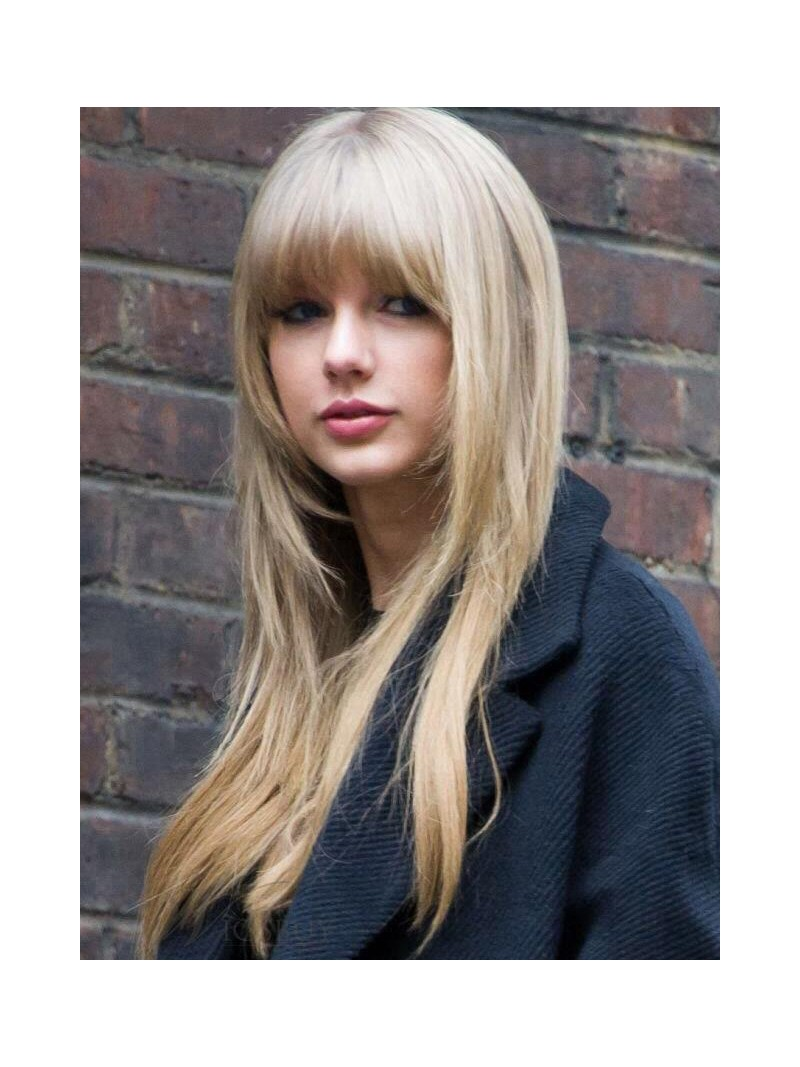 Pretty Full Bangs Blonde Lace Front Human Hair Wig Hh012