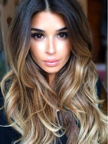 Black Ombre Blonde Balayage Highlight Lace Front Human Hair Wig