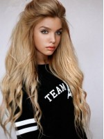 Gorgeous Blonde Long Straight Lace Front Human Hair Wig HH017