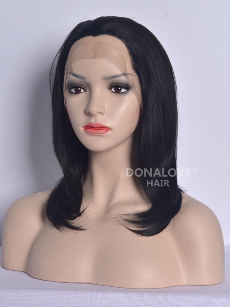 Jet Black Semi Long Straight Synthetic Lace Wig Sny074