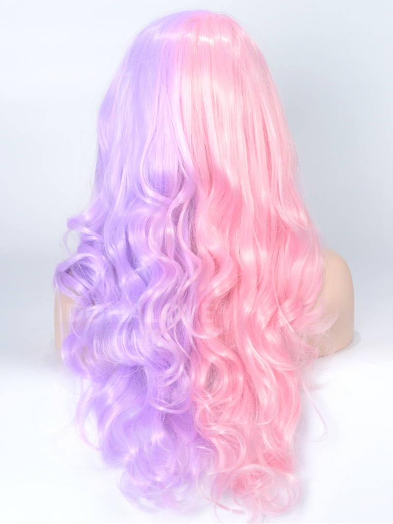 Half Pink And Half Lavender Color Wavy Synthetic Lace