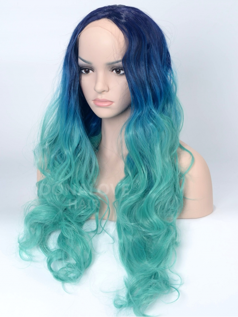 blue to teal wavy synthetic lace front wig sny076