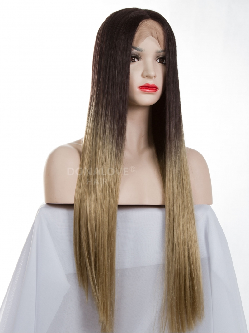 Black Ombre Blonde Long Synthetic Lace Front Wig Sny077