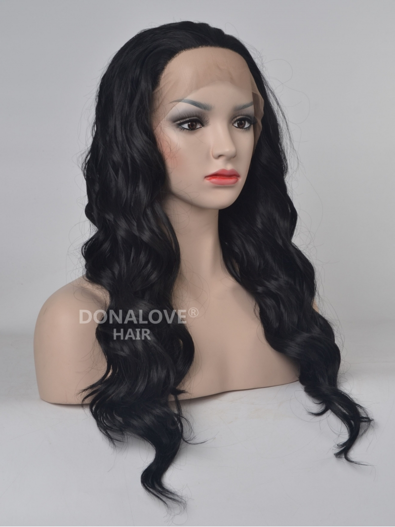 black long wavy synthetic lace front wigsny078