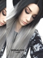 Black to Gray Straight Synthetic Lace Front Wig-SNY079