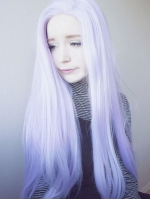Purple Mix White Long Straight Synthetic Lace Front wig SNY081