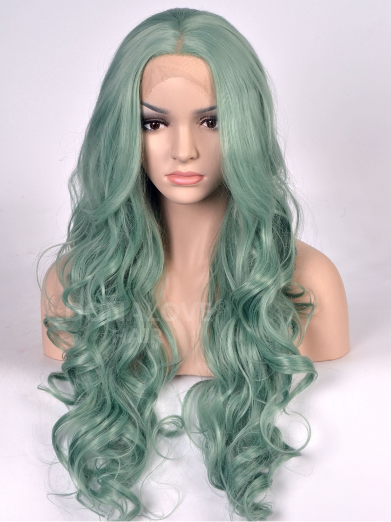 Light Green Wavy Long Synthetic Lace Front Wig Sny082
