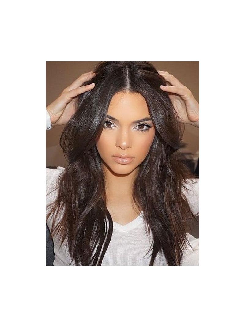 Medium Dark Brown Long Celebrity Lace Front Wig Hh029