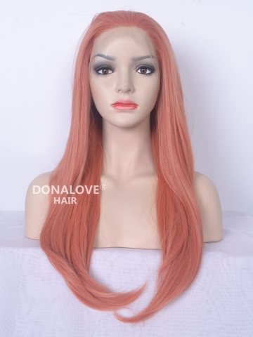 Shrimp Long Straight Lace Front Synthetic Wig SNY084