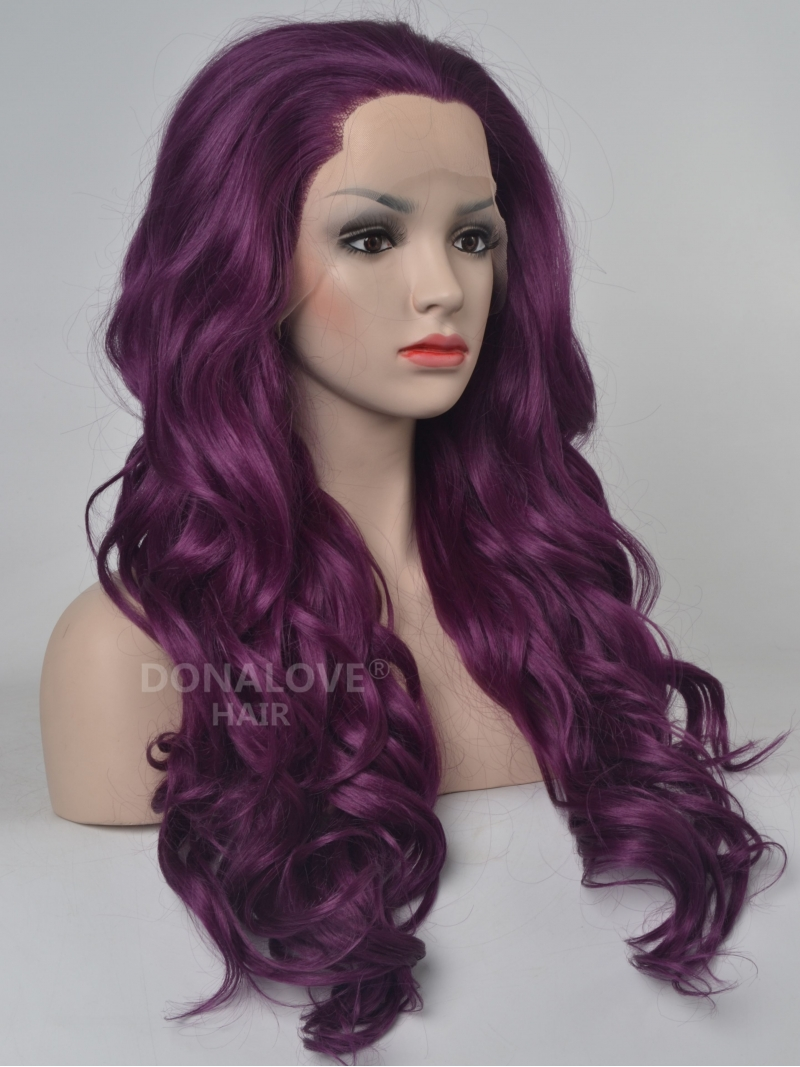 Dark Purple Wavy Waist Length Lace Front Synthetic Wig SNY089 ...