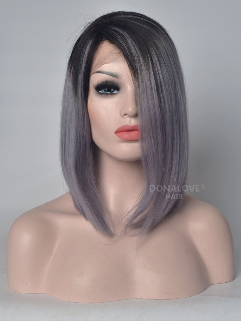 New Arrival Black To Gray Lace Front Human Hair Wig HH042 HUMAN ...