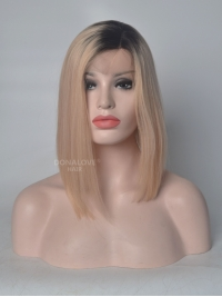 Black to Blonde Angle Cut Lace Front Human Hair Wig HH043