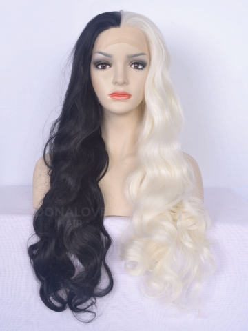 half black half white wavy synthetic lace front wig sny093