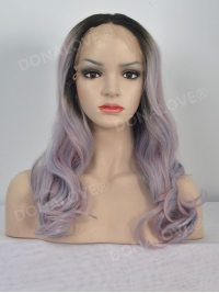 Blue Pink Mixed color Shoulder Length Wavy Lace Front Synthetic Wig SNY103