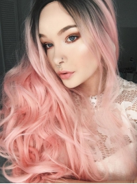 Black to Pink Bouncy wavy Long Synthetic Lace Front Wig SNY104