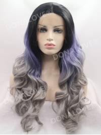 Black Ombre Gray Mermaid Wavy Synthetic Lace Front Wig SNY105