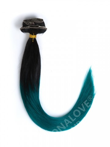Off Black to Green Colorful Ombre Clip In Hair Extensions CD002