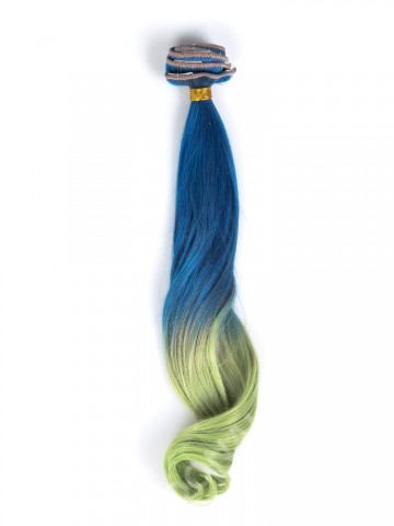 Blue to light green colorful indian remy clip in hair extensions CD004