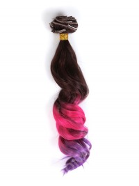 Brown to Pink to Purple Colorful Clip In Hair Extensions CD008
