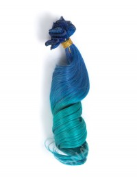 Blue to Green Shade Colorful Indian remy clip in hair extension CD012