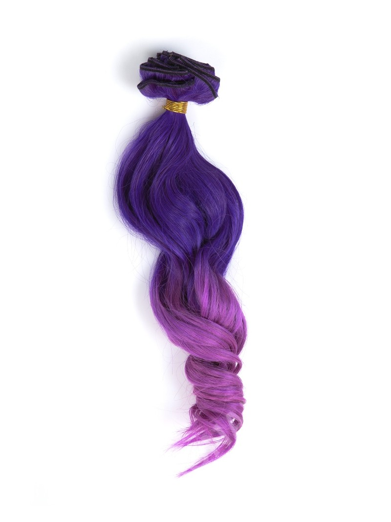 Purple Human Hair Extensions Clip In 7
