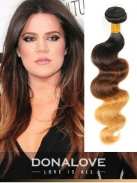 Three colors ombre indian remy clip in hair extensions OD003