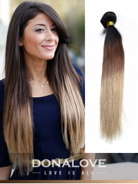 Two colors ombre indian remy clip in hair extensions OD005