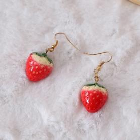 A PAIR OF SWEET STRAWBERRY LACE LOLITA EARRING LA011