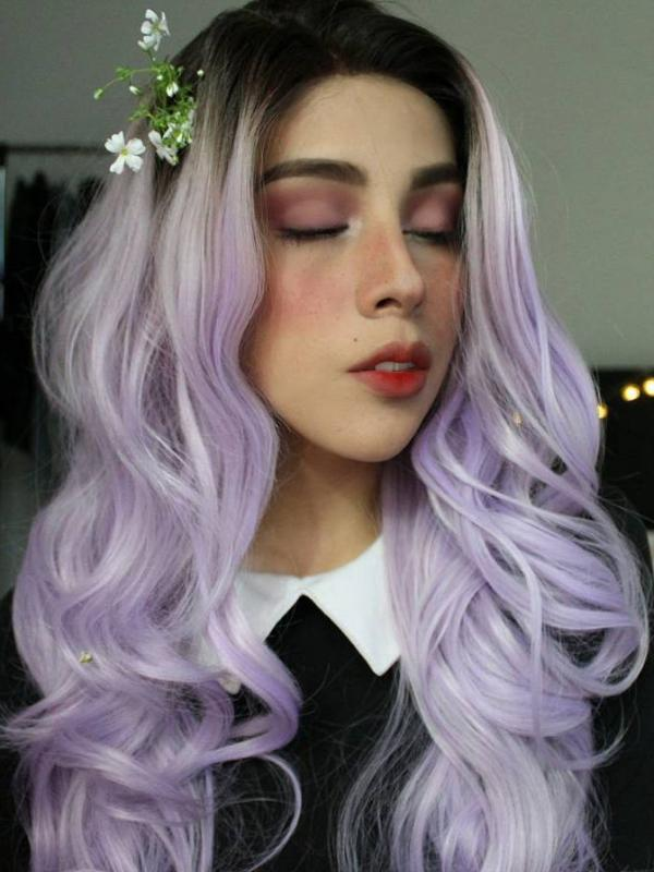 Black to Light Purple Long Wavy Synthetic Lace Front Wig SNY001