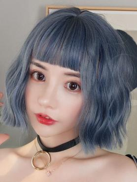 New Fog Blue Bob Wavy Synthetic Wefted Cap Wig LG001