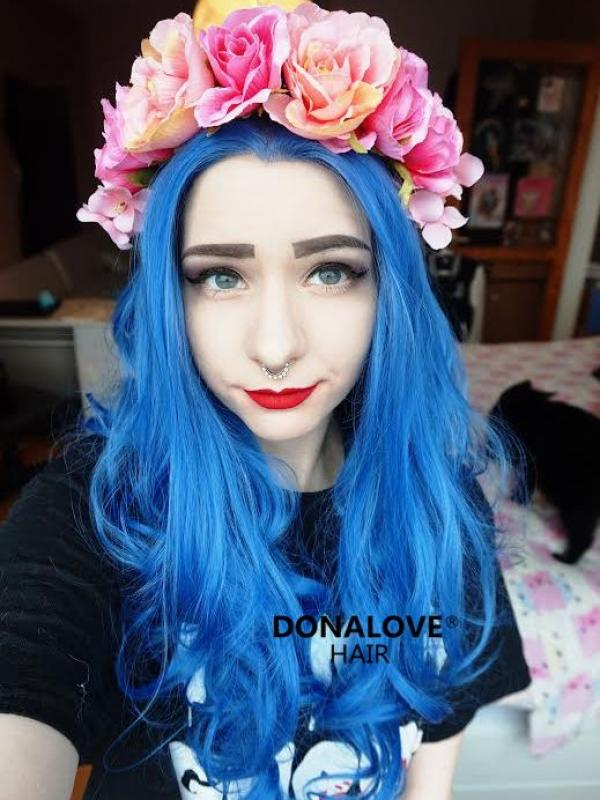 Blue Waist-length Wavy Synthetic Lace Wig-SNY063