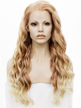 New Blonde Ombre Waist Length Curly Synthetic Lace Front Wig-SNY131