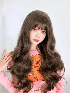 BROWN LONG WAVY SYNTHETIC WEFTED CAP WIG LG154