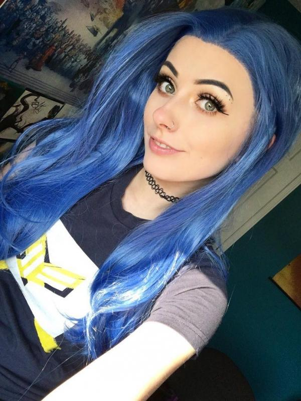 Blue Waist-length Straight Synthetic Lace Wig-SNY037