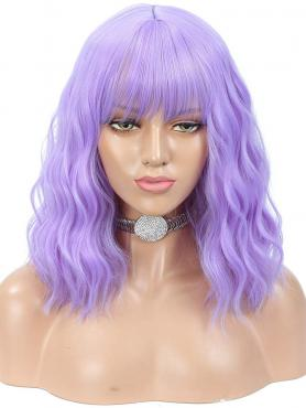 NEW PURPLE WAVY SYNTHETIC WEFTED CAP WIG WW041