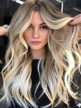 Long Wavy Ombre Blonde Preplucked Full Lace Wigs FLW032