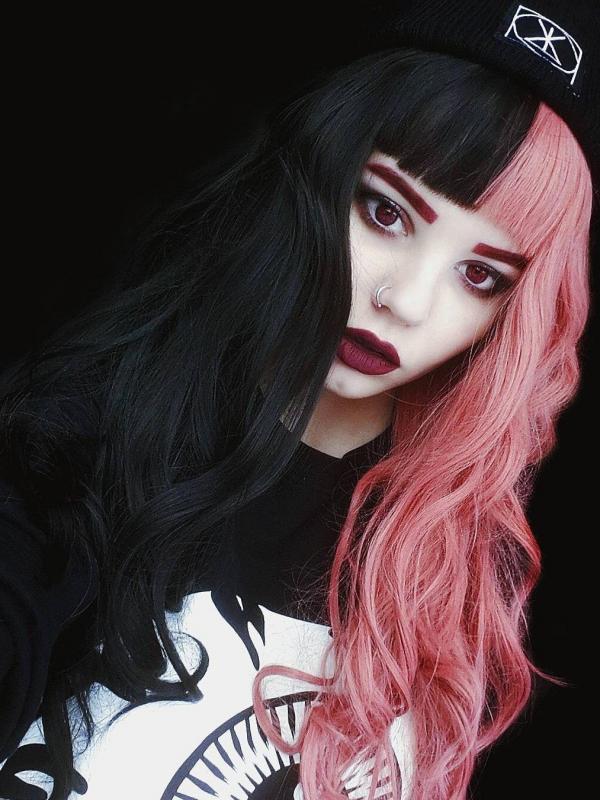 Half Pink Half Black Rainbow Wavy Synthetic Lace Front Wig Sny088