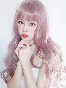 MILKY LAVENDER LONG WAVY SYNTHETIC WEFTED CAP WIG LG148