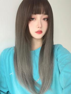GRADIENT LONG STRAIGHT SYNTHETIC WEFTED CAP WIG LG359