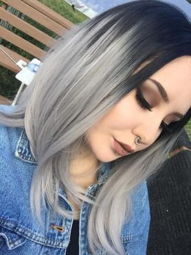 Black to Gray shoulder length Bob Style Lace Front wig SNY086