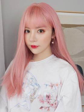 NEW PINK STRAIGHT SYNTHETIC WEFTED CAP WIG LG069