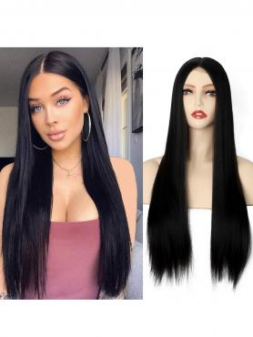 Natural Black Long Straight Middle Part Lace Wig MPL001