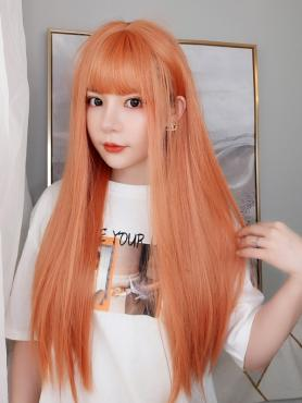 NEW ORANGE STRAIGHT SYNTHETIC WEFTED CAP WIG LG068