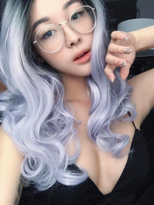 Black Ombre Light Lavender Short Wavy Lace Front Synthetic Wig SNY101