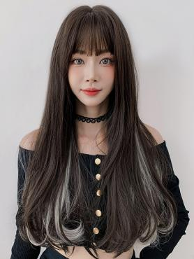 MIXED COLOR LONG WAVY SYNTHETIC WEFTED CAP WIG LG365