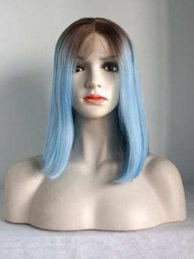 Brown to Light Blue Straight Shoulder Length Synthetic Lace Front Wig SNY124