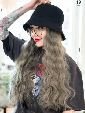 BLACK BUCKET HAT WITH GRAY SYNTHETIC HAIR, WAVY HAIR, WIG HAT WB014