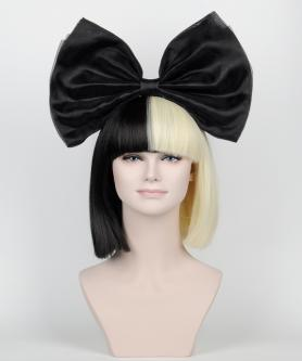 New Split Black/Blonde Wig with a Detachable Bow LG044